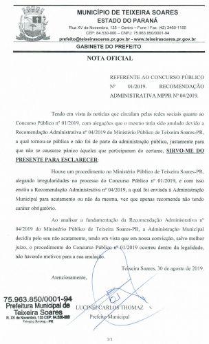 NOTA OFICIAL CONCURSO PÚBLICO Nº 01/2019