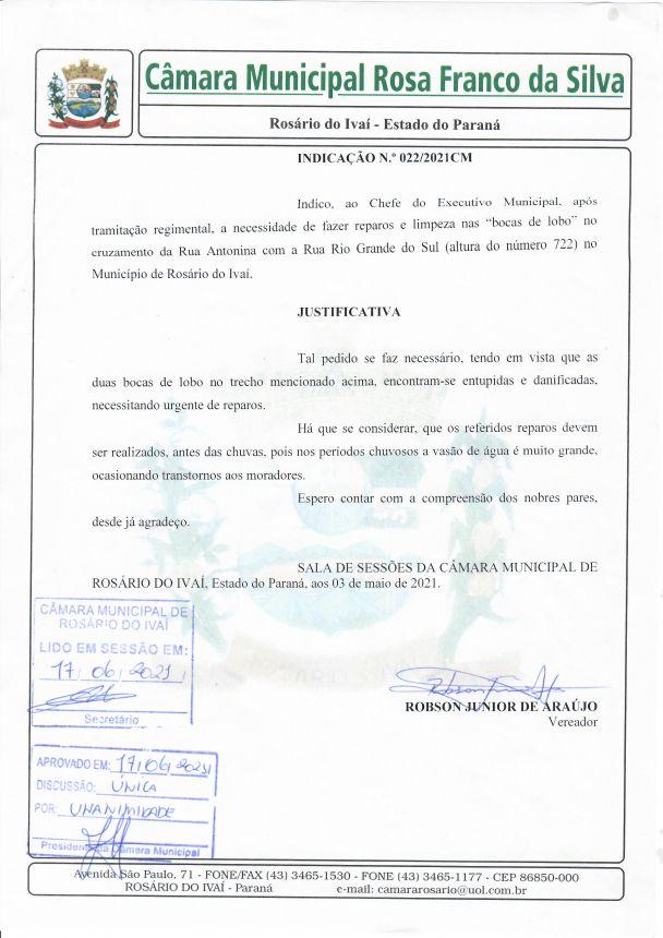Indicação nº 022/2021