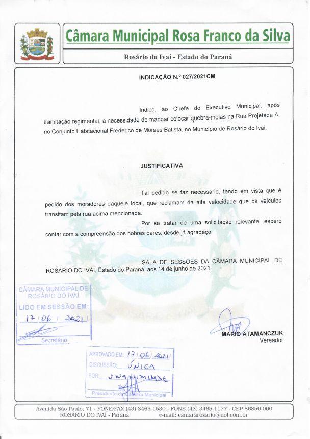 Indicação nº 027/2021