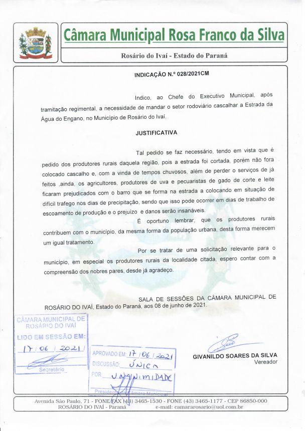 Indicação nº 028/2021