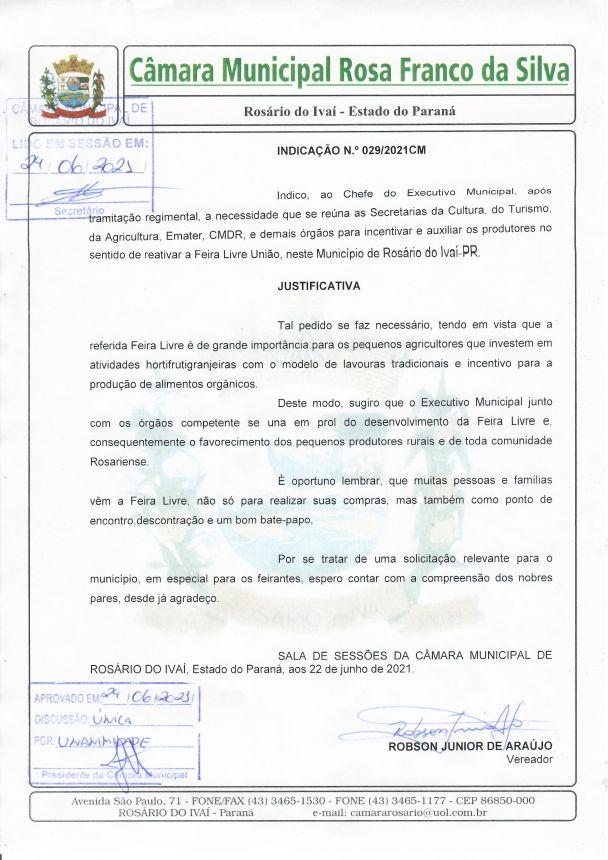 Indicação nº 029/2021