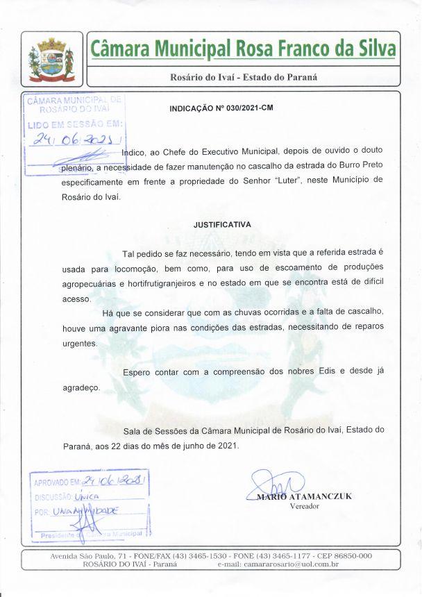 Indicação nº 030/2021