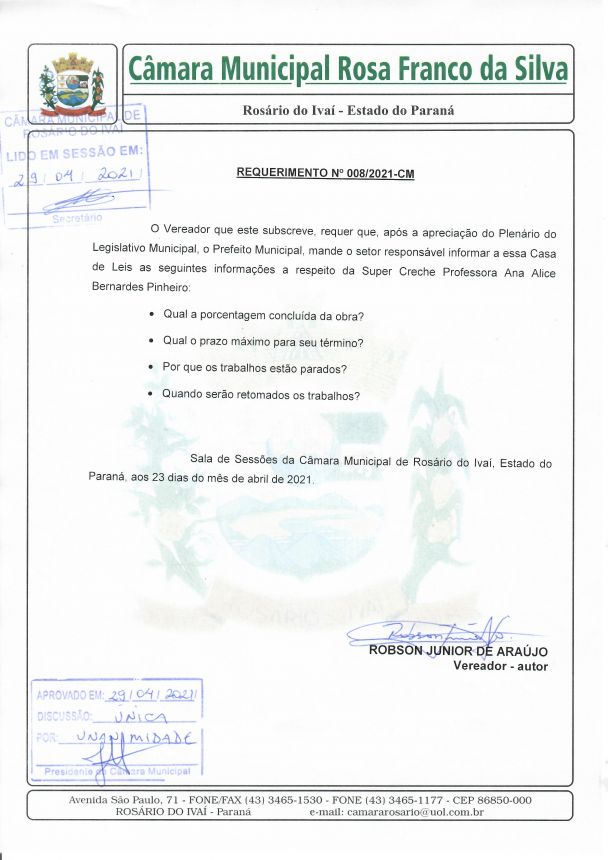 Requerimento n° 008/2021