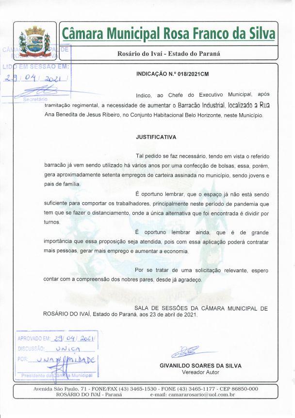 Indicação n° 018/2021