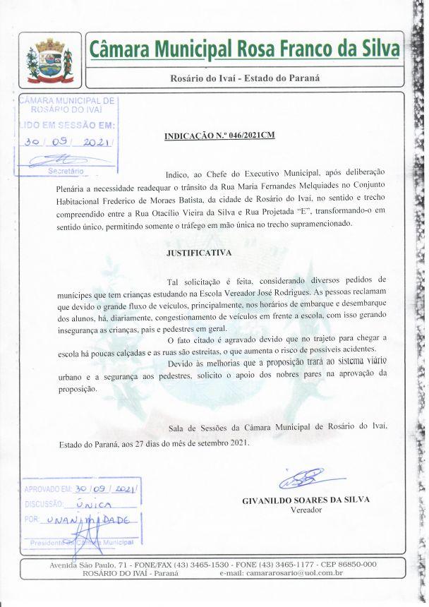 Indicação nº 046/2021