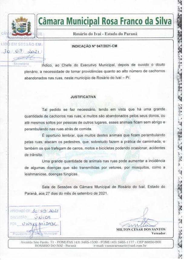 Indicação nº 047/2021