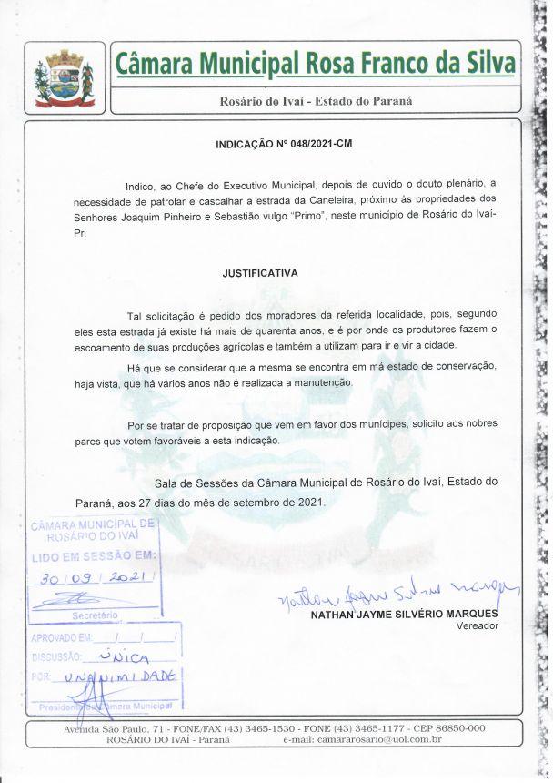 Indicação nº 048/2021
