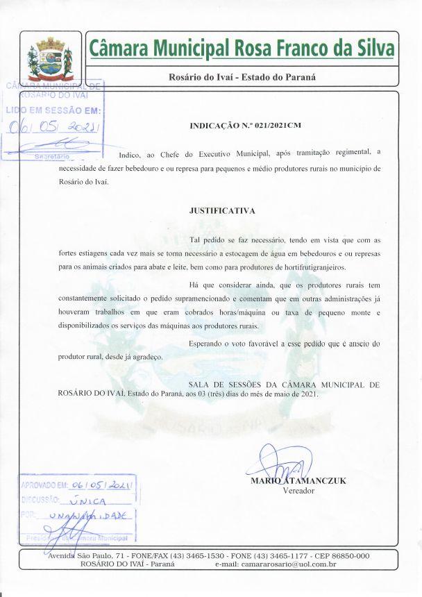 Indicação n° 021/2021