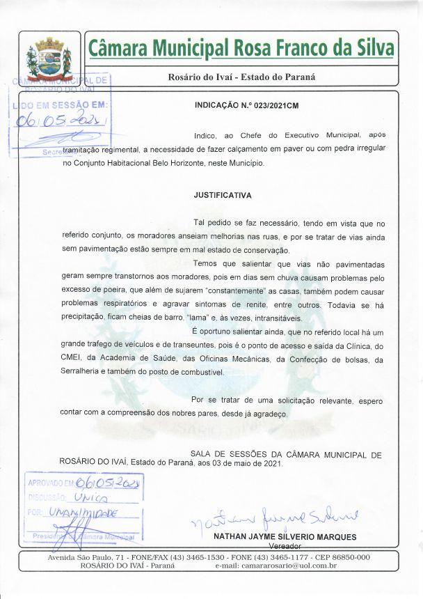 Indicação n° 023/2021