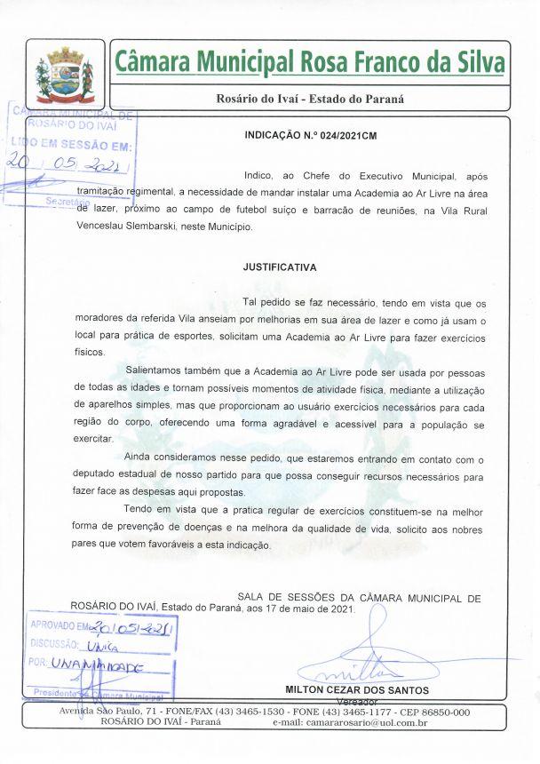 Indicação n° 024/2021