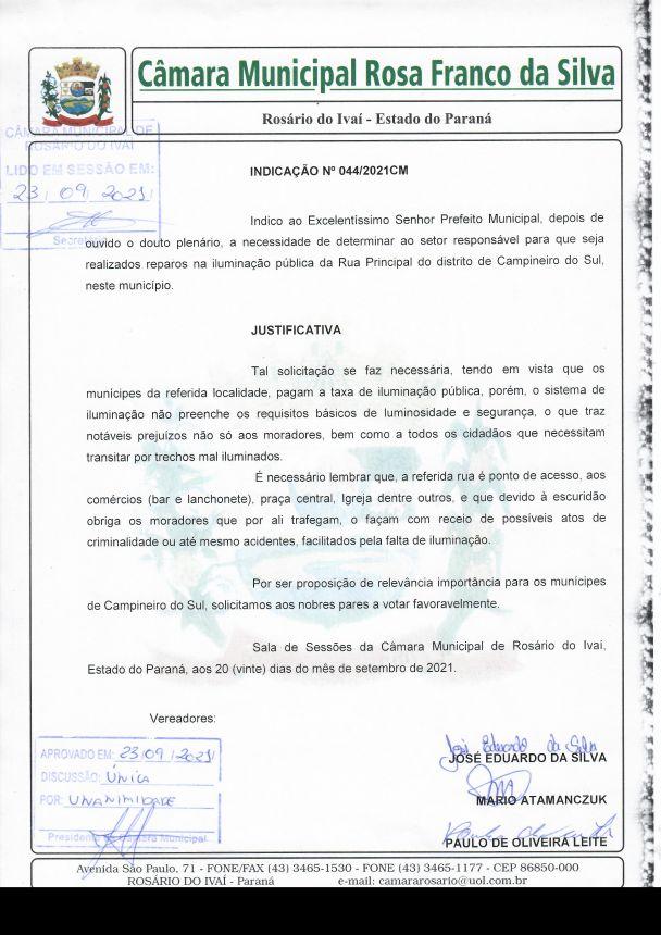 Indicação nº 044/2021