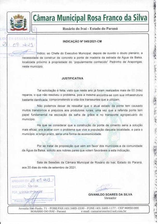Indicação nº 045/2021