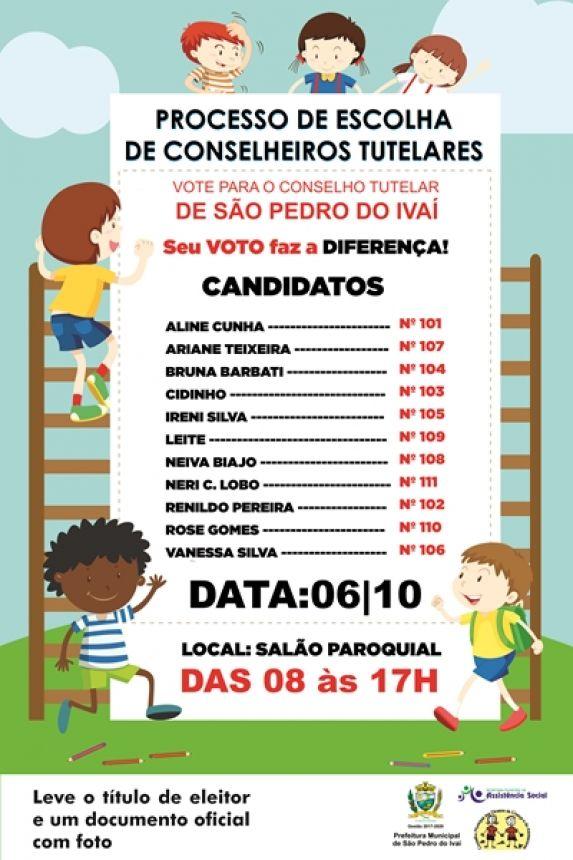 Eleitor, veja e lista dos candidatos ao Conselho Tutelar e escolha. Voce deve optar apenas por um candidato