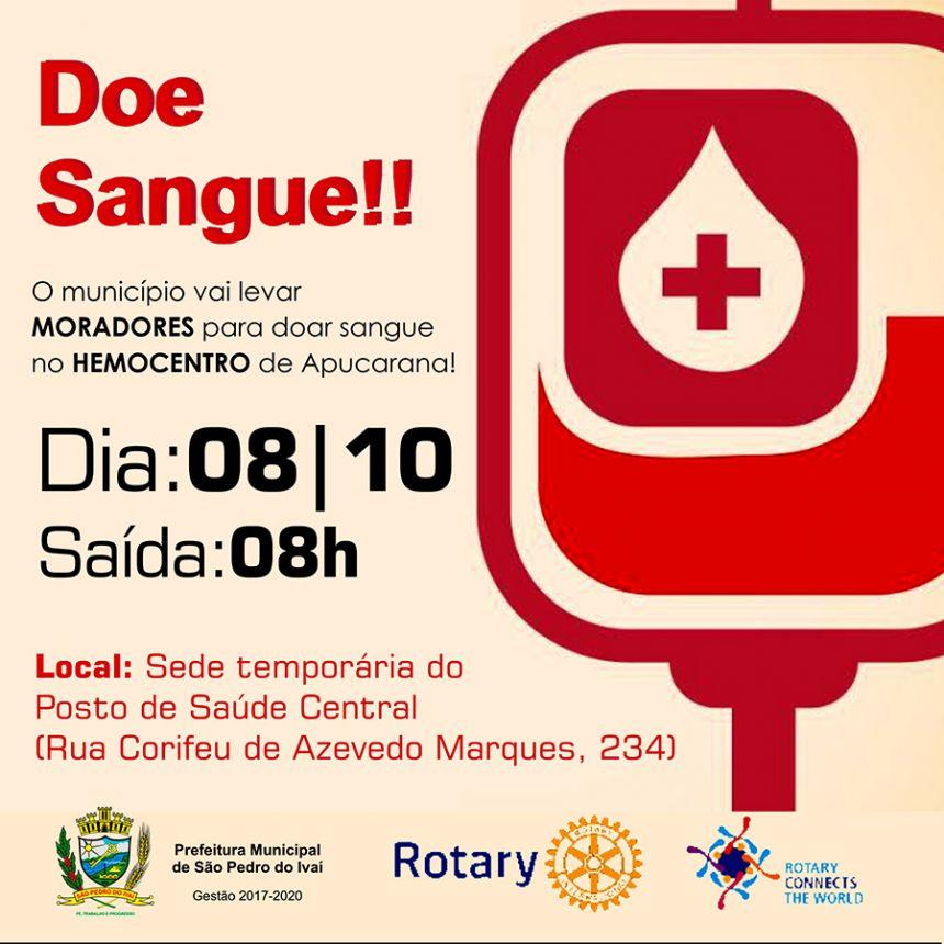 Moradores de SPI podem doar sangue no dia 08 de outubro