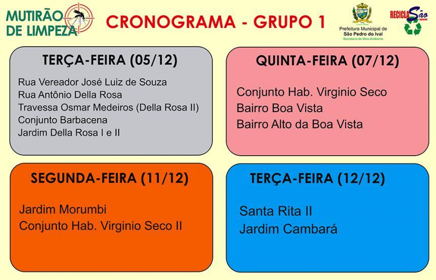 Cronograma do Grupo 1
