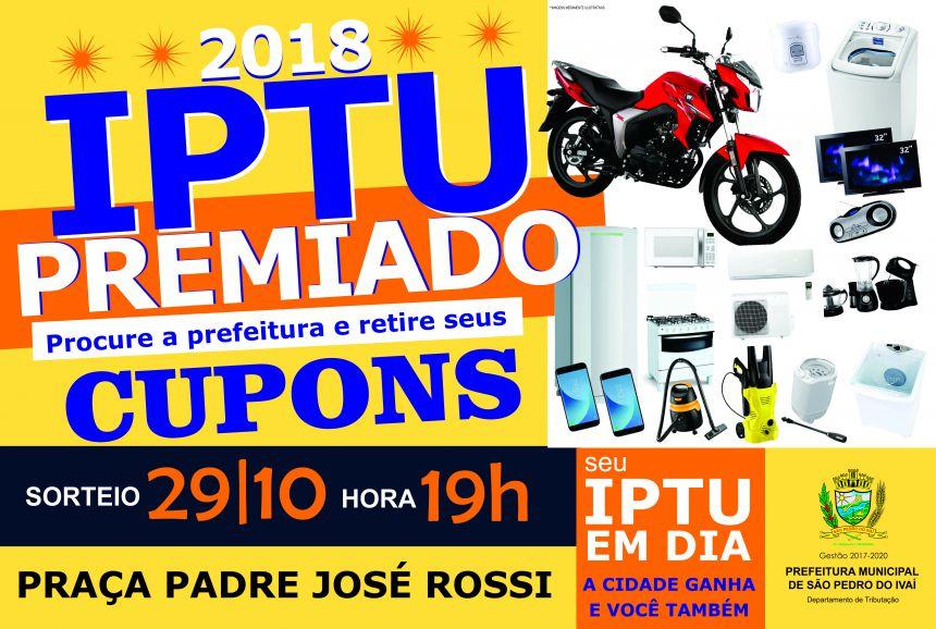 """Cupons da campanha """"IPTU Premiado"""" devem ser retirados até dia 26"""