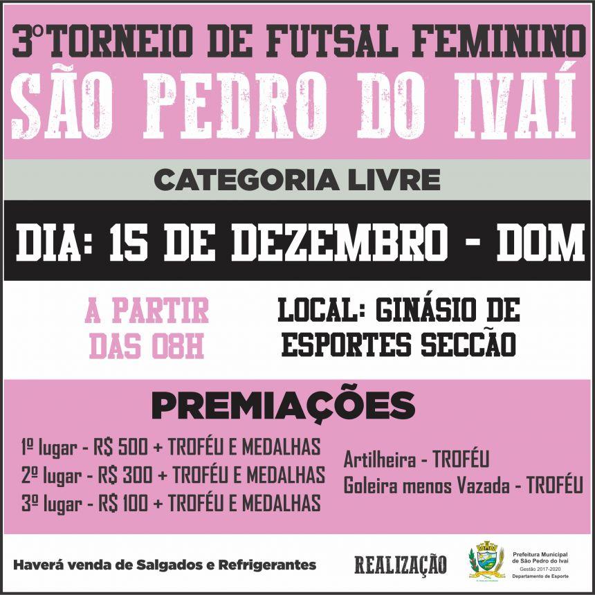 São Pedro do Ivaí sedia torneio feminino de futsal