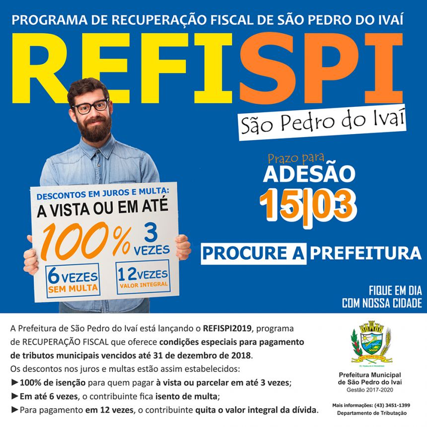 Prefeitura de São Pedro do Ivaí lança programa de parcelamento de dívidas