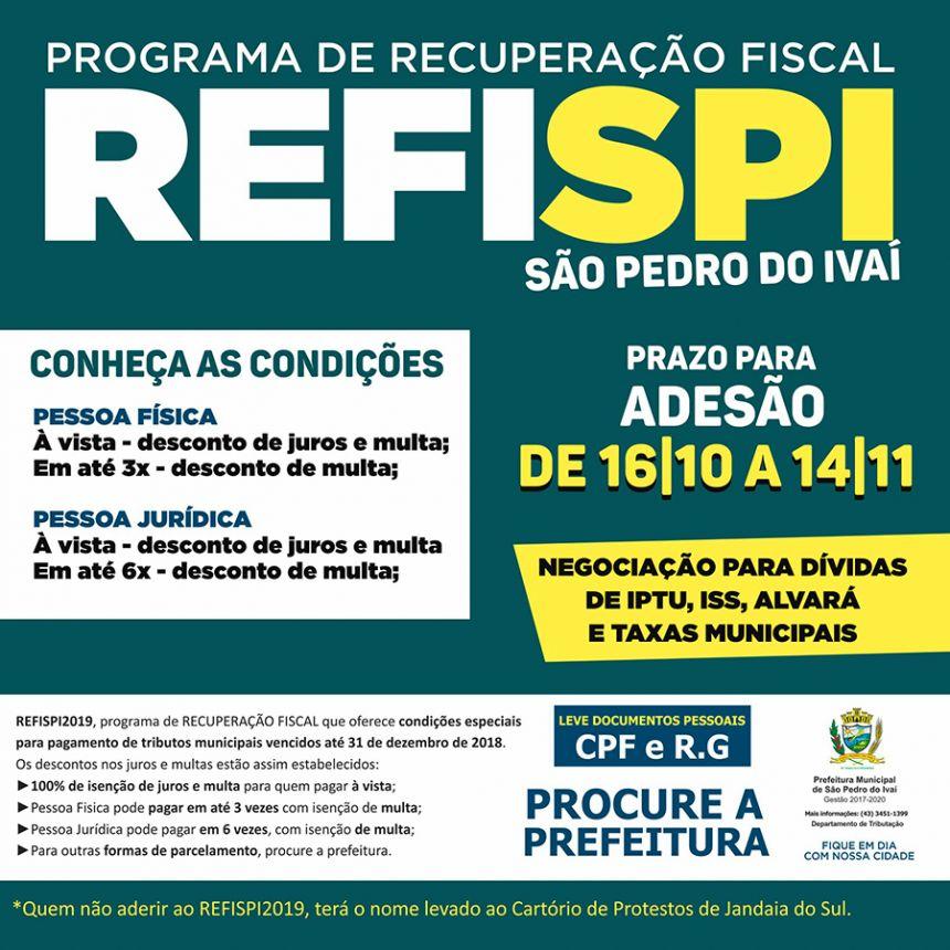 Com prazo de 30 dias, prefeitura de São Pedro do Ivaí lança o REFISPI