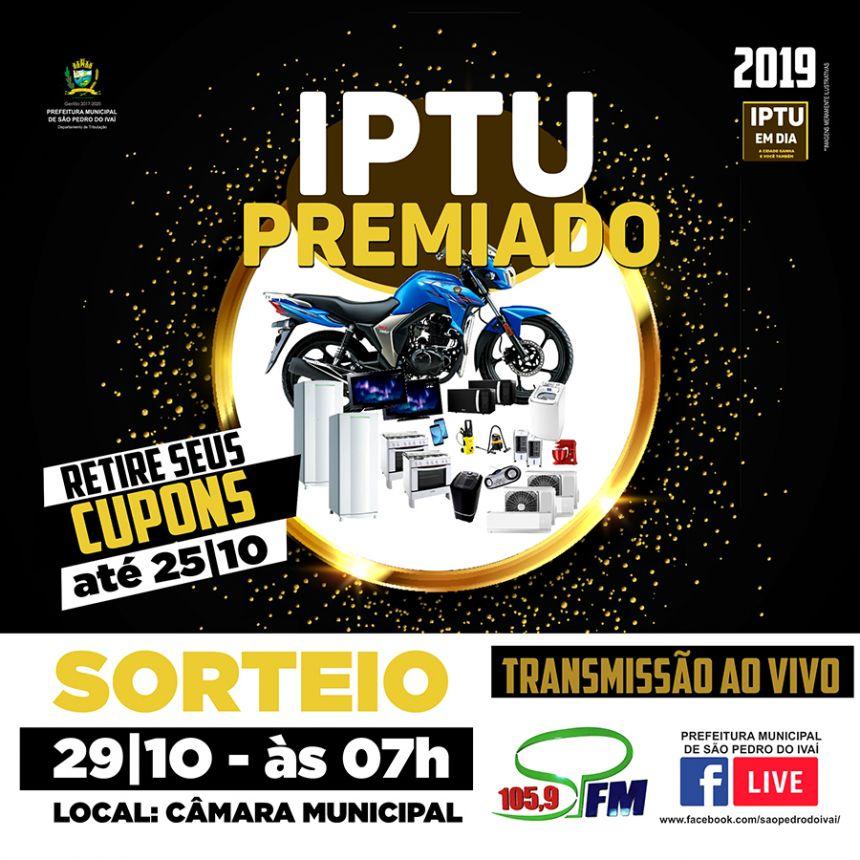 """Sorteio da campanha """"IPTU Premiado"""" será dia 29 10, véspera do aniversário da cidade"""