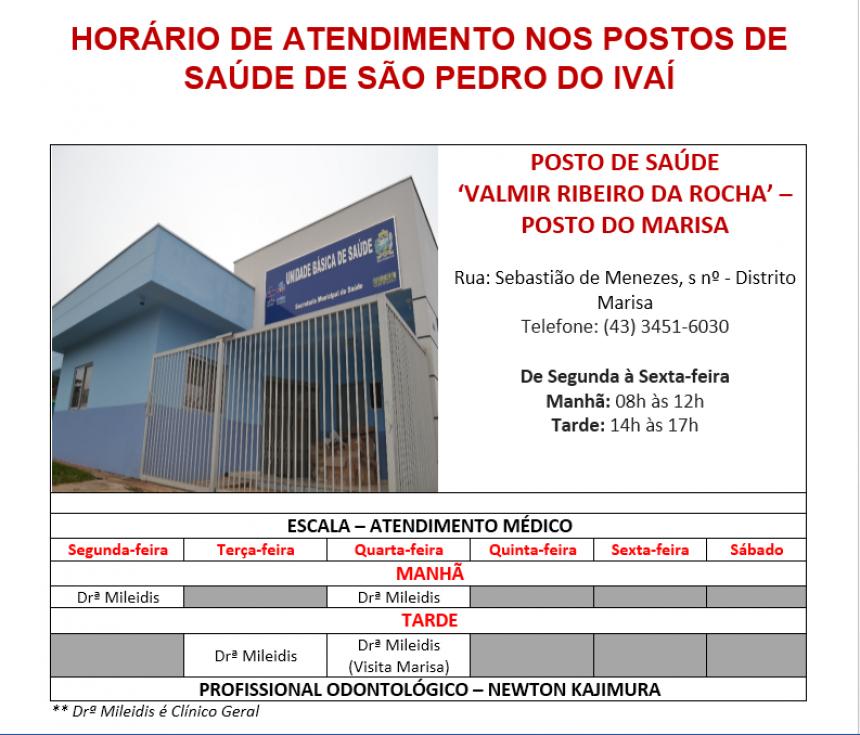 Veja os horários de atendimento nos Postos de Saúde de São Pedro do Ivaí