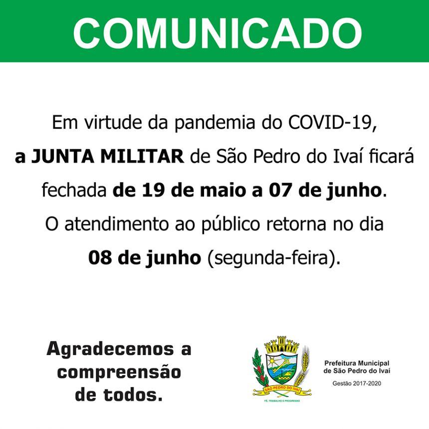 Por conta do Covid-19, Junta Militar de SPI ficará fechada até dia 07 de junho