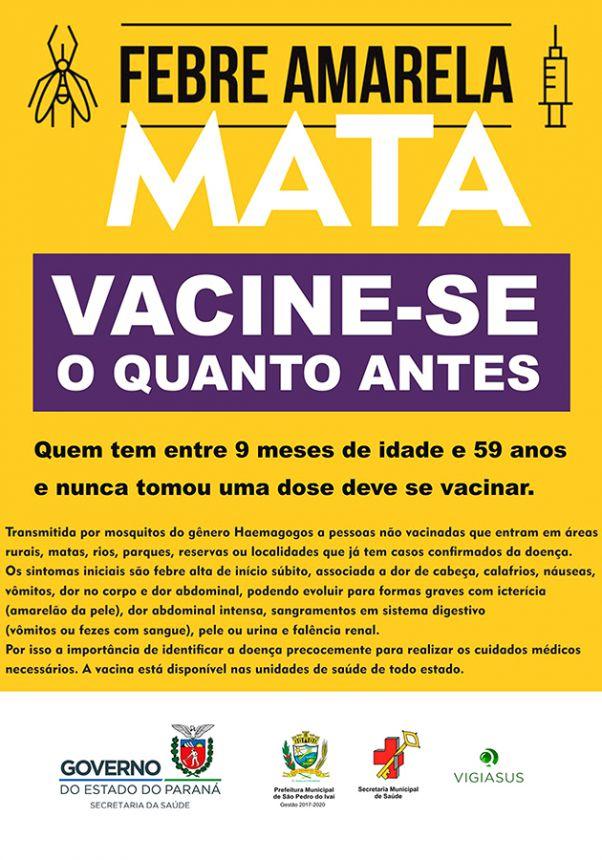 São Pedro do Ivaí realiza campanha de vacinação contra Febre Amarela