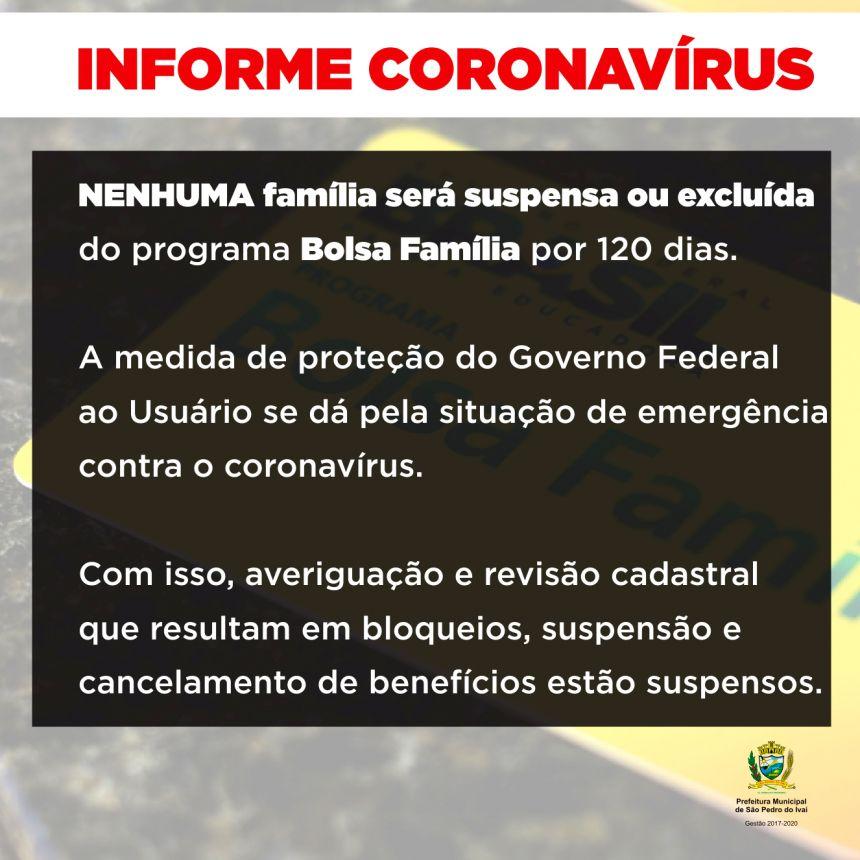 Governo suspende por 120 dias exclusão de beneficiados pelo Bolsa Família