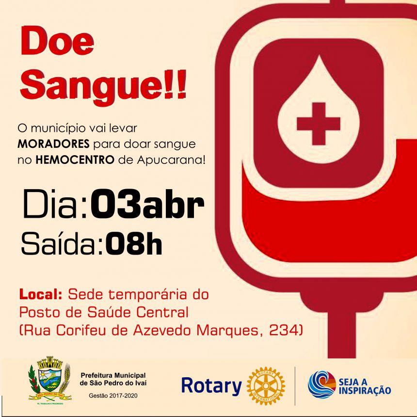 Parceria entre Prefeitura e Rotary levará doadores para Hemocentro de Apucarana