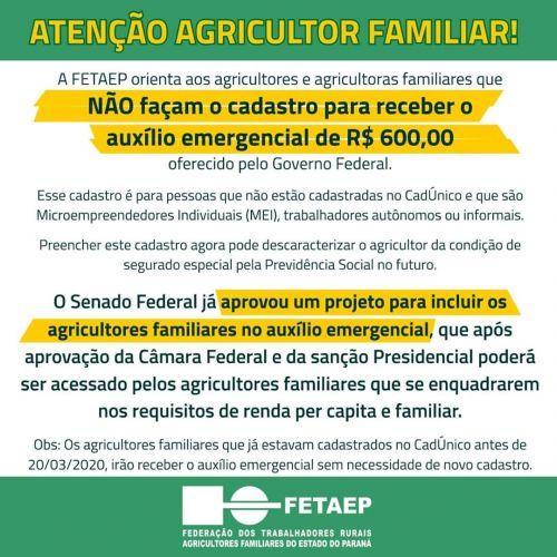 FETAEP orienta agricultores familiares para não fazer o cadastro para auxílio emergencial