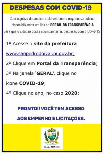 Prefeitura de SPI disponibiliza gastos com pandemia do Covid-19