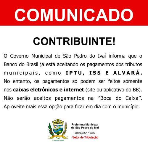 Baixe e compartilhe este comunicado; Pague seus tributos tamb�m no Banco do Brasil