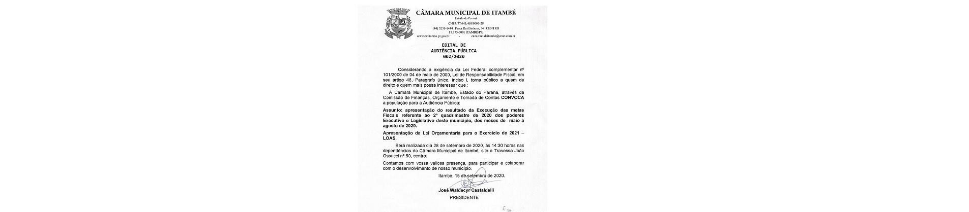 EDITAL DE AUDIÊNCIA PUBLICA DO 2º QUADRIMESTRE DE 2020