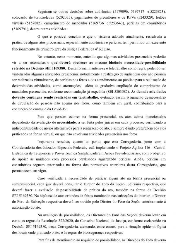 Decisão regulamenta a realização de atividades presenciais e semi-presenciais no âmbito da Justiça Federal de Primeiro Grau da Quarta Região