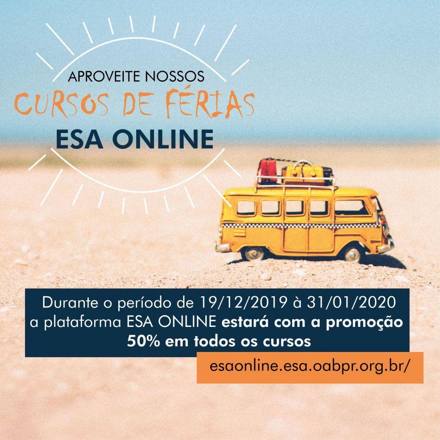 Em janeiro, cursos ofertados pela ESA Online têm 50% de desconto