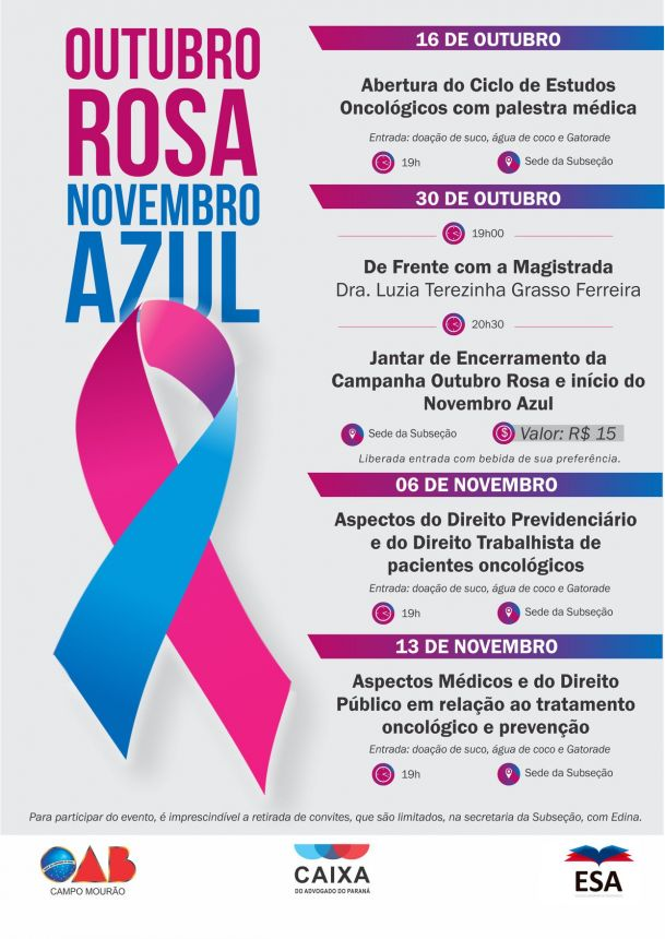 Campanha Outubro Rosa Novembro Azul