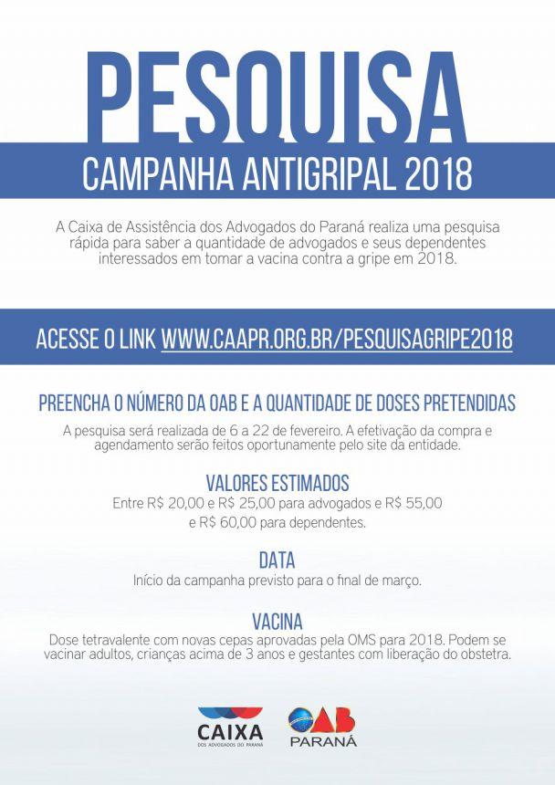23/02/2018 - CAA/PR faz pesquisa para planejamento da campanha de vacinação contra a gripe de 2018