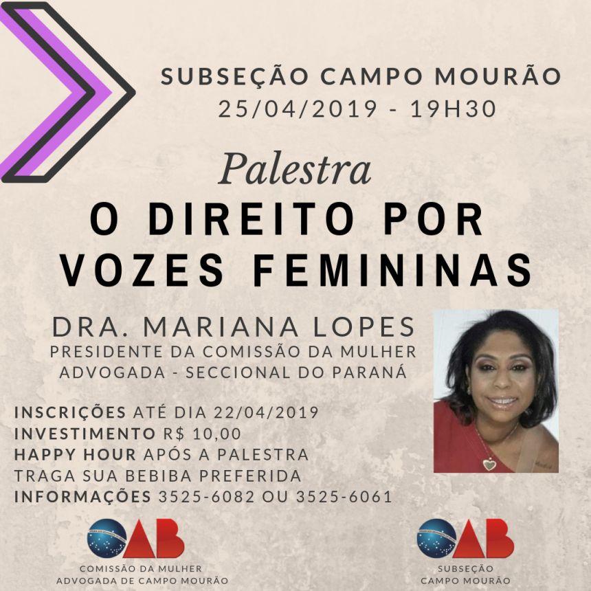 Palestra: Direito Por Vozes Femininas