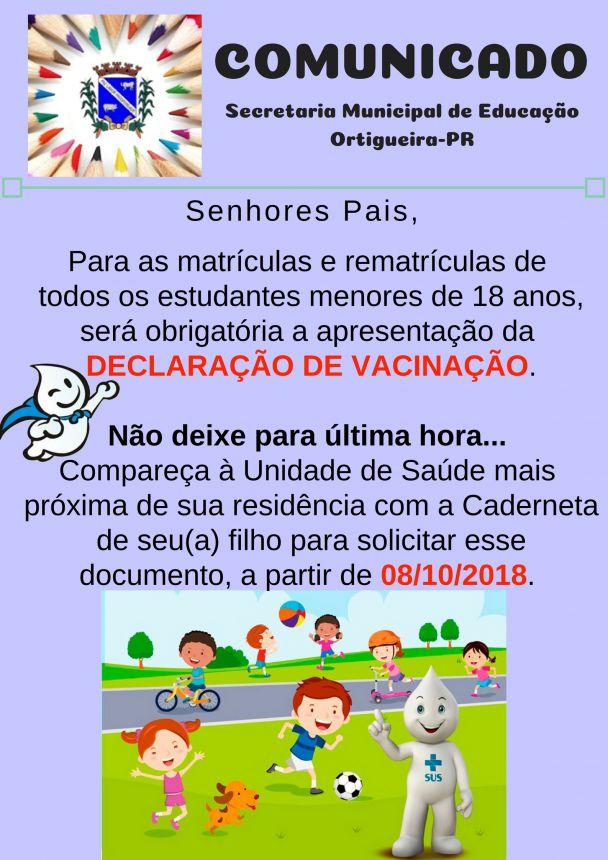 DECLARAÇÃO DE VACINAÇÃO SERÁ OBRIGATÓRIA PARA MATRÍCULAS DE ALUNOS MENORES DE 18 ANOS
