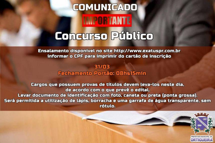 COMUNICADO CONCURSO PÚBLICO 001/2019