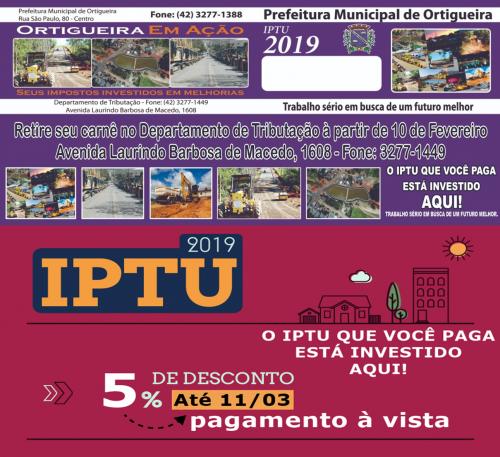 COMUNICADO IMPORTANTE     IPTU 2019