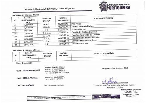 LISTA DE ESPERA EDUCAÇÃO INFANTIL - AGOSTO/2018
