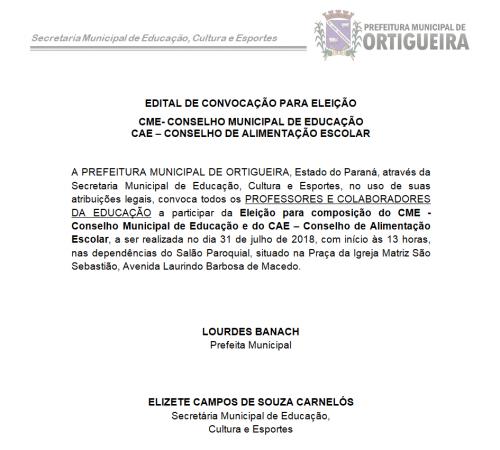 CONSELHO MUNICIPAL DE EDUCAÇÃO E CONSELHO MUNICIPAL DE ALIMENTAÇÃO ESCOLAR