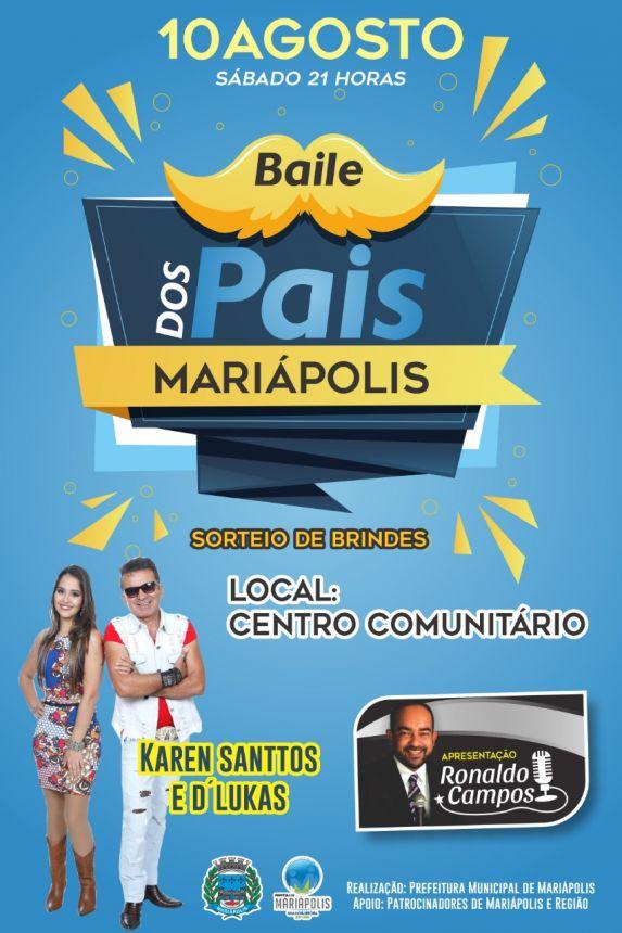 Prefeitura de Mariápolis promove baile em homenagem aos pais neste sábado