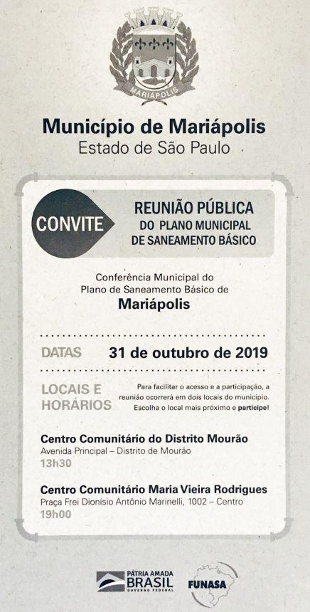 31 de outubro terá Conferência Municipal do Plano de Saneamento Básico de Mariápolis
