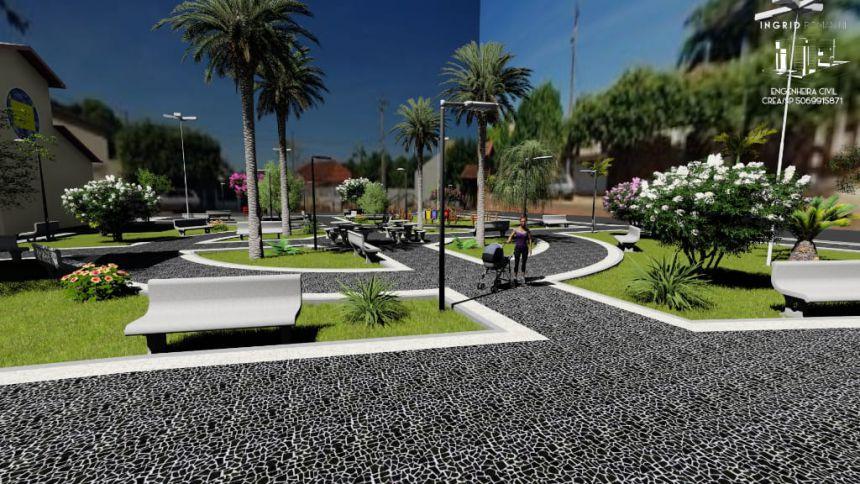 Autoridades visitam praça que está sendo reformada em Mariápolis através de emenda federal de Evandro Grussi