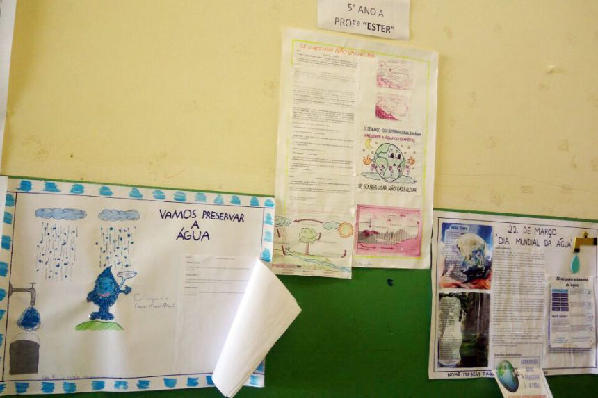 Cartazes confeccionados pelos alunos da escola. Foto: Cedida.