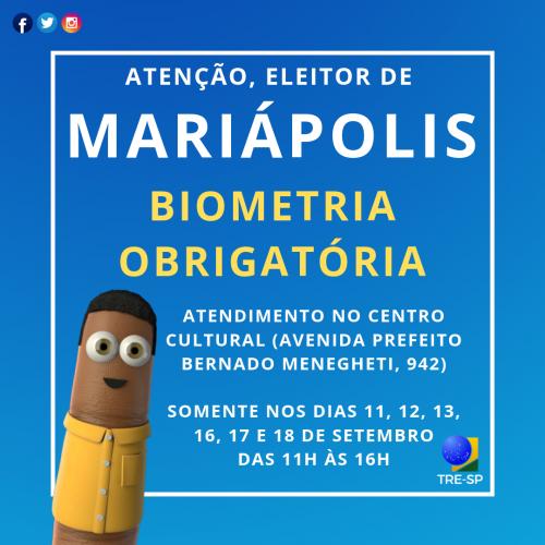 Cartório Eleitoral realiza recadastramento biométrico em Mariápolis