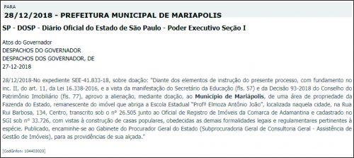 Estado doa terrenos para regularização em benefício à famílias de Mariápolis