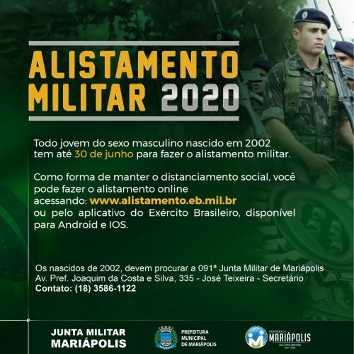 Jovens que completam 18 anos tem até 30 de junho para o Alistamento Militar